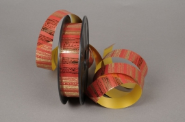 Ribbon bright metal ribbed gold and red 25mmx68m