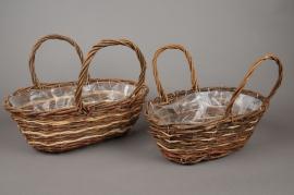 Set of 2 wicker baskets 39x23cm H14cm