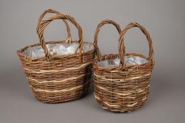 Set of 2 wicker baskets D31cm H19cm