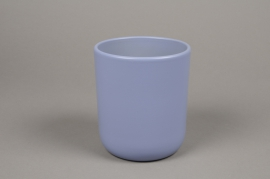 A000A8 Cache-pot en céramique bleu D13cm H15.5cm