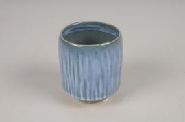 A000BJ Cache-pot en céramique bleu D7cm H9cm