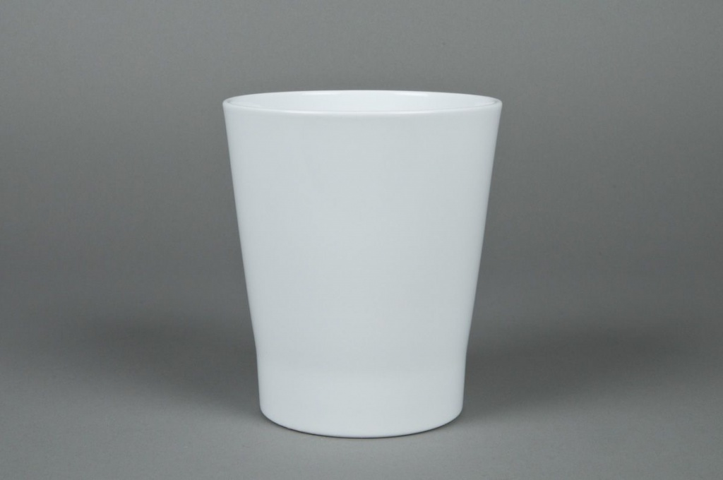 A000DO Planter ceramic Orchid white D14cm H15cm