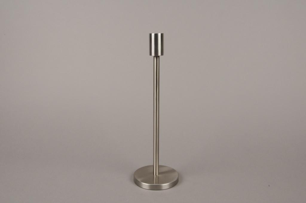 A000E0 Bougeoir métal argent H30.5cm