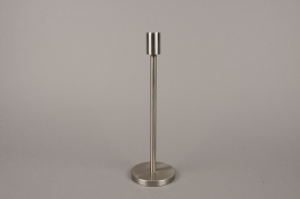 A000E0 Silver metal candle holder H30.5cm