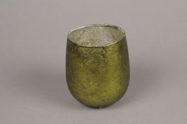 A000G7 Photophore en verre vert vieilli D6.5cm H7cm