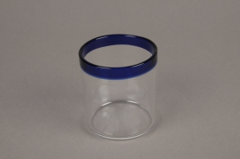 A000H6 Glass jar and blue border D6cm H7cm