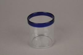 A000H6 Pot en verre liseré bleu D6cm H7cm