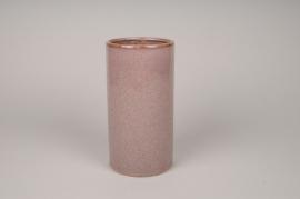 A000J6 Vase en céramique rose D12cm H23cm