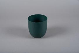 A000JY Green metal planter D11.5cm H12cm