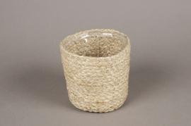 A000M5 Cache-pot en jute naturel D13cm H12cm