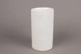 A000N8 White terracotta vase D11cm H22cm