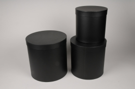 A000O1 Set de 3 boîtes en carton noir D28cm H28cm
