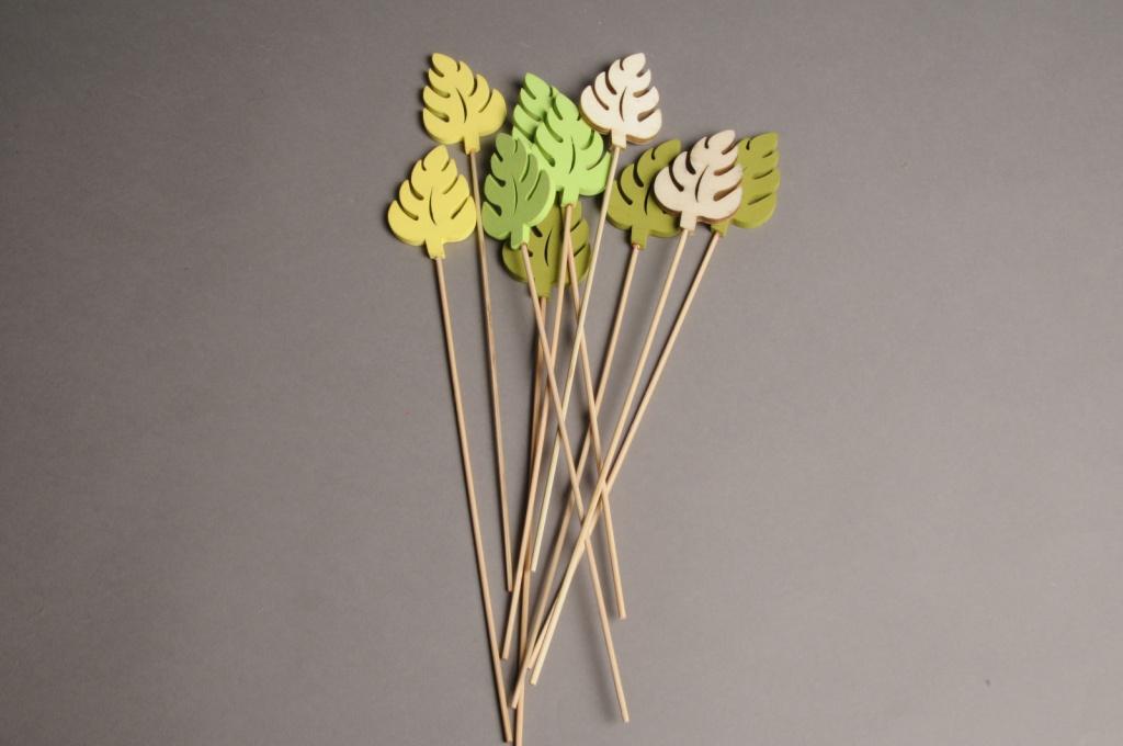 A000PH Pack of 10 picks of wooden leaf H30cm