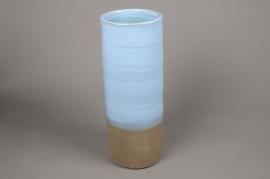 A000Q0 Vase en céramique bleu D18cm H49cm