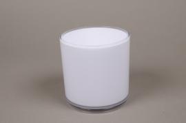 A000QX Vase cylindre en plastique blanc D13.5cm H13.5cm