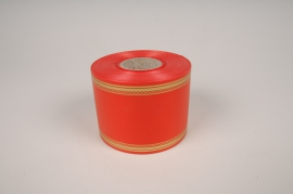 A000RB Red and gold mourning ribbon 75mm x 50m
