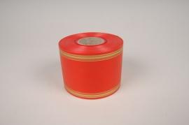 A000RB Ruban deuil rouge et doré 75mm x 50m