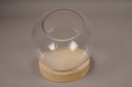 A000T0 Glass bell with wooden tray D19cm H23cm
