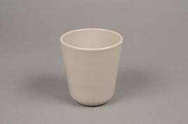 A000T3 Grey ceramic planter pot D10cm H11.5cm
