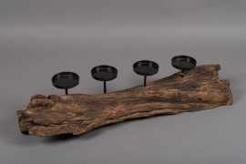 A000U7 Teck wood with candle holders 70x20cm H15cm