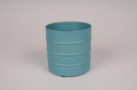 A000U9 Cache-pot en métal bleu D9.5cm H9.5cm