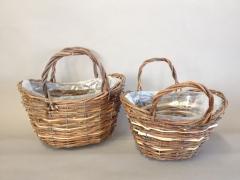 Set of 2 wicker baskets 29x22cm H26cm