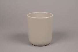 A001A8 Grey ceramic planter pot D13cm H15.5cm