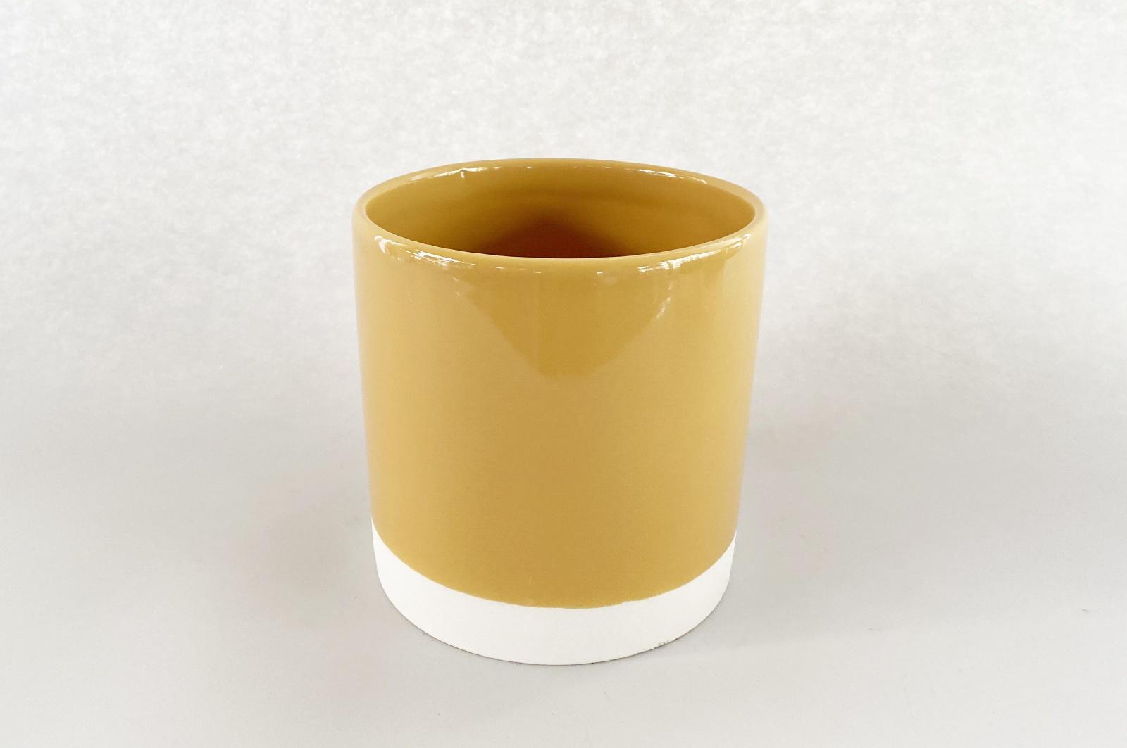A001AA Cache-pot en céramique moutarde D13cm H13cm