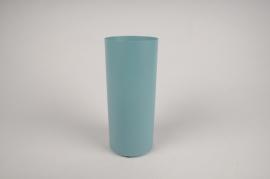 A001CC Vase en métal cylindre bleu D9cm H22cm