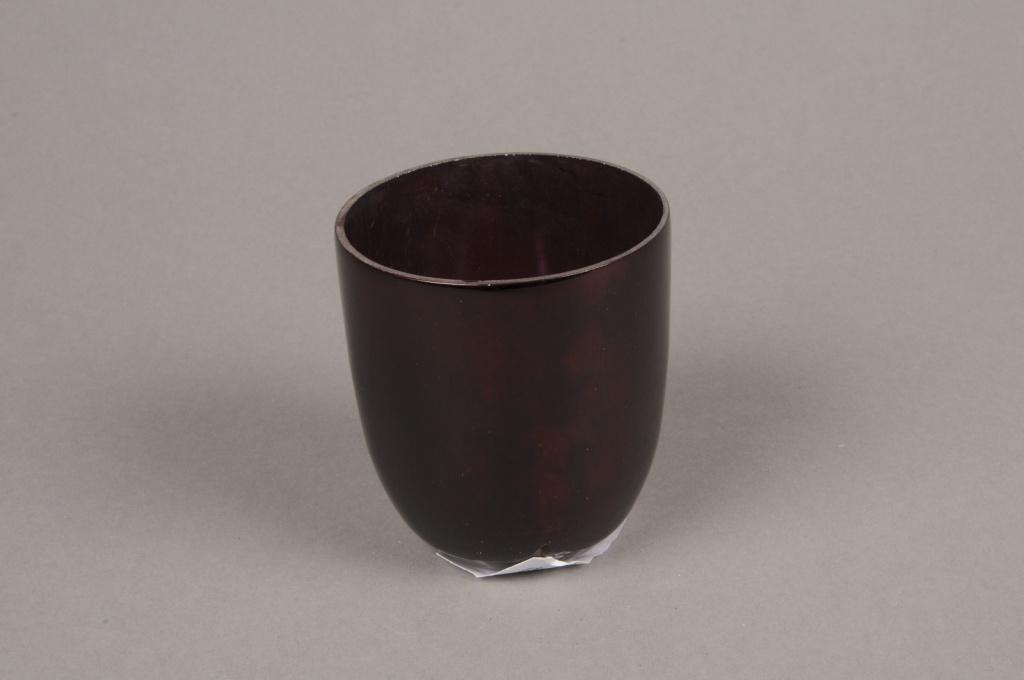 A001G2 Photophore en verre rouge D6.5cm H7cm