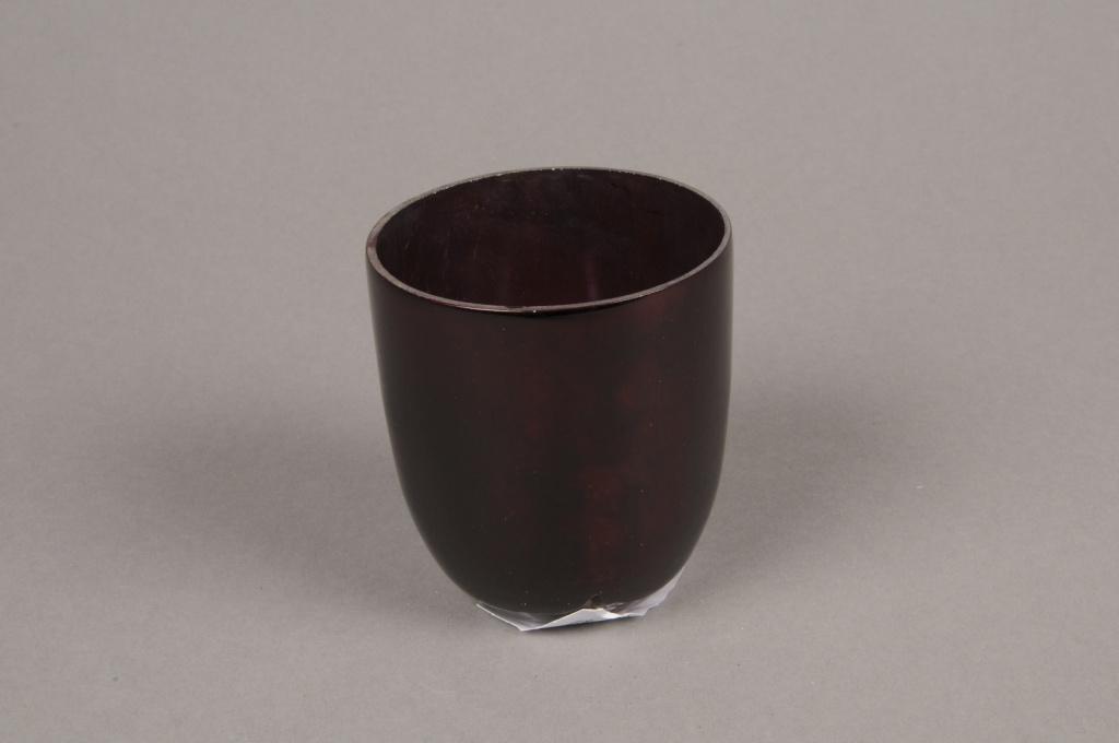 A001G2 Red glass candle jar D6.5cm H7cm