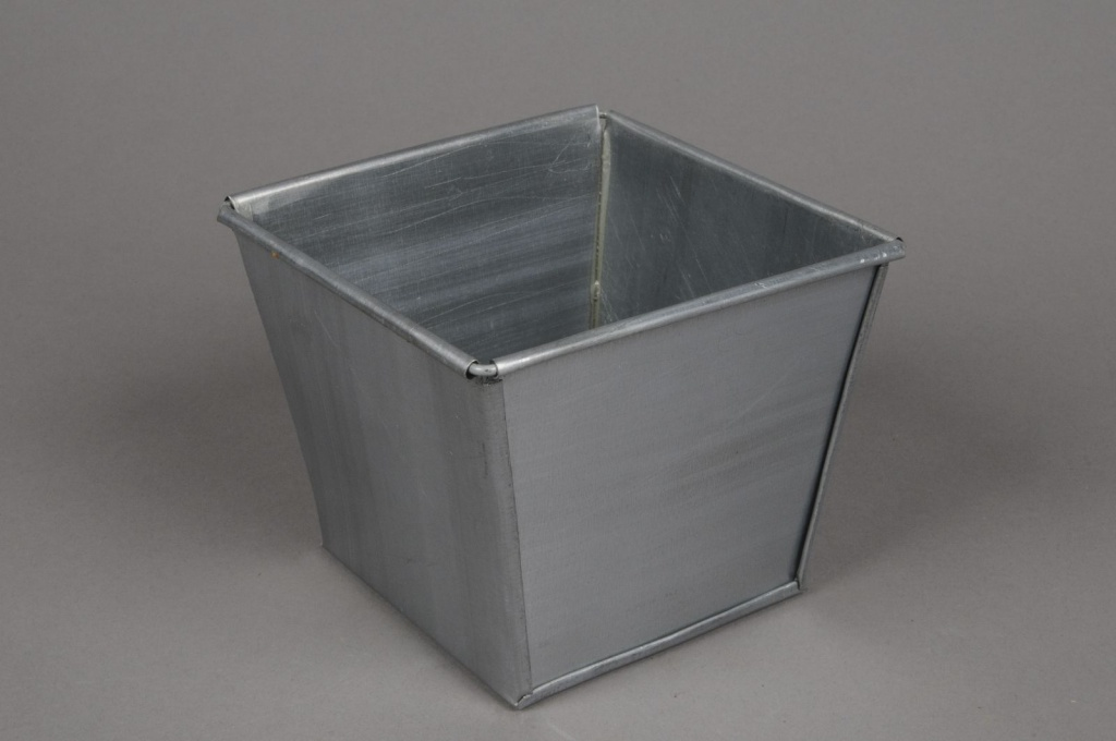 A001GF Square brushed zinc planter 13cm x 13cm H11cm on square aluminum planters, square iron planters, square stone planters, square brass planters, square outdoor planters, square tin planters, square terracotta planters, square fiberglass planters, square lead planters, square plastic planters, square white planters, square garden planters,