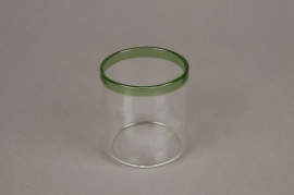 A001H6 Glass jar and green border D6cm H7cm