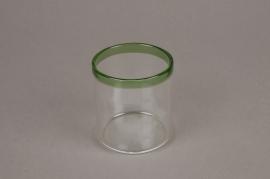 A001H6 Pot en verre liseré vert D6cm H7cm