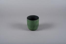 A001JY Cache-pot en métal vert D11.5cm H12cm
