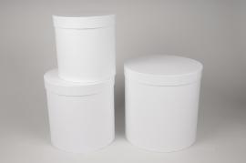 A001O1 Set de 3 boîtes en carton blanc D28cm H28cm