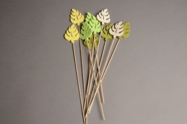 A001PH Pack of 10 picks of wooden leaves H31cm