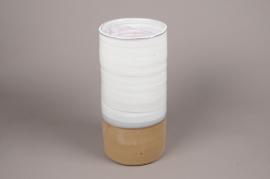 A001Q0 vase en céramique blanc D18cm H49cm