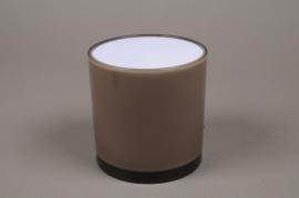 A001QX Vase cylindre en plastique gris D13.5cm H13.5cm