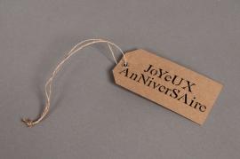 A001RT Paquet de 20 étiquettes kraft Joyeux anniversaire 5,5X11cm