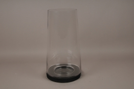 A001T0 Glass candle holder with wooden stand D28cm H52cm