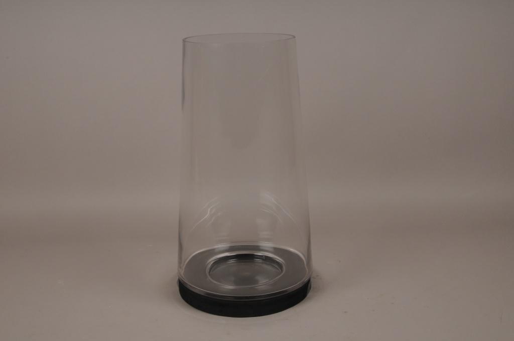 A001T0 Photophore en verre sur socle en bois noir D28cm H52cm