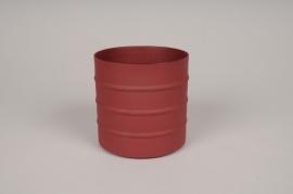 A001U9 Cache-pot en métal rouge D9.5cm H9.5cm
