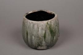 A001W6 Cache-pot en céramique vert D13cm H13cm