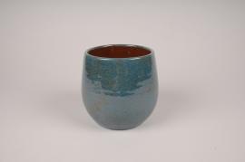 A001XD Cache-pot en céramique bleu D15cm H14.5cm