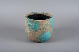 A001ZH Blue ceramic planter D22cm H20cm