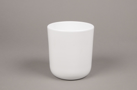 A002A8 White ceramic planter pot D13cm H15.5cm