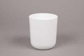A002A8 White ceramic planter pot D13cm H15.5cm