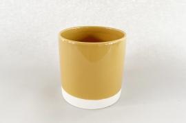 A002AA Cache-pot en céramique moutarde D15cm H15.5cm