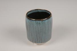A002BJ Cache-pot en céramique bleu D7cm H9cm